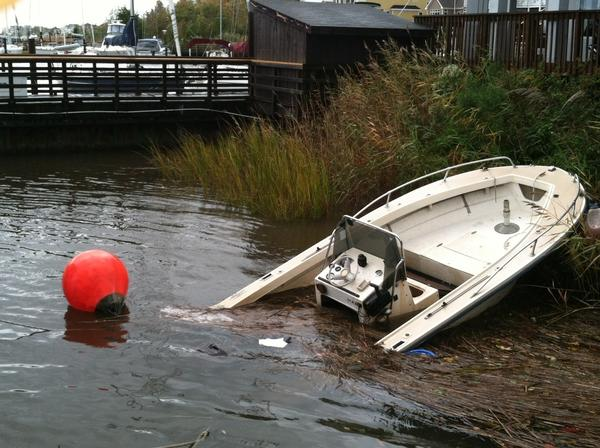 A boat at Salt Ponds Marina in Hampton on Tuesday morning was sunk by Hurricane Sandy.