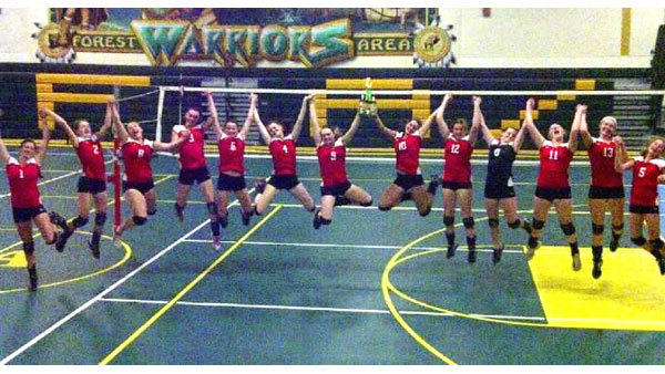 Saturdays first-place performance at the Forest Area Invitational was good enough to make the Johannesburg-Lewiston volleyball team jump. J-L went 14-0 in the tournament, gearing up for this weeks Class C District play. Team members include Abby Schlicher, Julia Nieman, Abbie May, Hailey Weaver, Miranda Kortman, Tiffany Nickert, Brittany Cherwinski, Hannah Huff, Becky Michael, Erin Kortman, Ashley May, Katelyn Weaver, Sarah Korff.