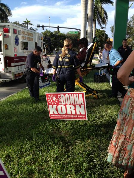An early voter in Hollywood collapsed after waiting for hours to vote