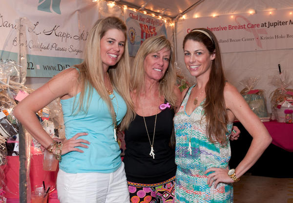 "Chelsea Lasater, left, Robin Albertz and Shannon Perez at the fourth annual ""Bluewater Babes Fish for a Cure,"" which took place Oct. 5-6 at the Square Grouper Tiki Bar located in Jupiter and benefited H.O.W. – Hearing the Ovarian Cancer Whisper and Cancer Alliance of Help & Hope."