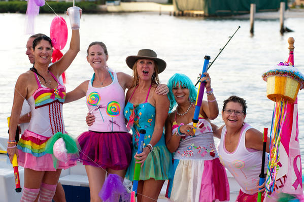 "Team Sweet Life: Coreen Ulibarri, left, Christy Brown, Michelle Tillman, Yolanda Cote and Mary VanFleet at the fourth annual ""Bluewater Babes Fish for a Cure,"" which took place Oct. 5-6 at the Square Grouper Tiki Bar located in Jupiter and benefited H.O.W. – Hearing the Ovarian Cancer Whisper and Cancer Alliance of Help & Hope."