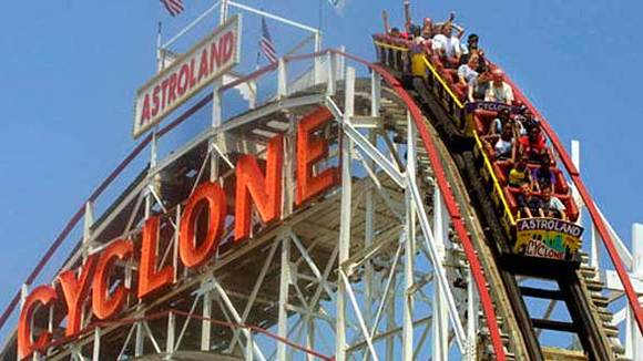 The Cyclone roller coaster at Astroland in Coney Island, N.Y.