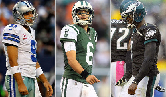 Dallas' Tony Romo, the New York Jets' Mark Sanchez and Philadelphia's Michael Vick are all veteran quarterbacks having their share of problems this season.