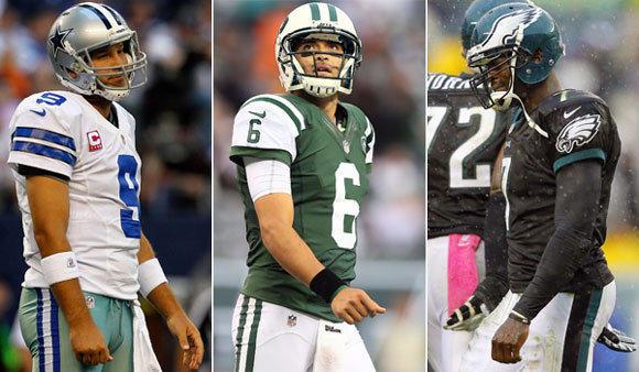 Dallas' Tony Romo, the New York Jets' Mark Sanchez and Philadelphia's Michael Vick are all veteran quarterbacks having their share of problems this season.