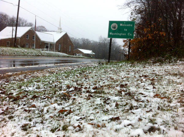 Snow left behind when the remnants of Hurricane Sandy moved through the Tri-State area overnight covers the ground along Md. 77 at the Washington County-Frederick County line Tuesday morning.