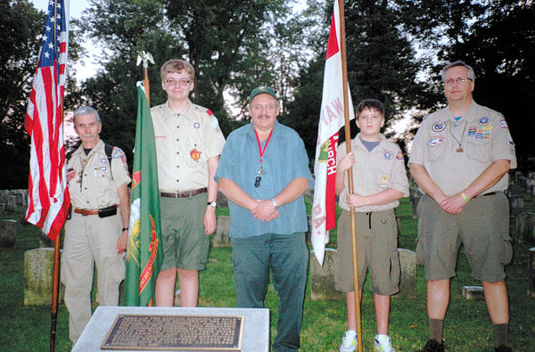 From left, Assistant Scoutmaster Monty Henry, Jeffrey Weaver, Irish Brigade Representative Jeff Weaver, Brendan Porter and Assistant Scoutmaster Bob Avey.