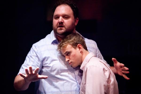 "Matthew Elkins, left, and Erik Odom in ""A Bright New Boise"" at Theatre Theater."