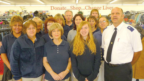 Employees at the new Salvation Army Family Thrift Store in Gaylord include (l-r) Maria Alsobrooks, Lorie Ruszkowsi, Beverly Robinson, Joette Monforton, LeeAnn Russell, Cathy Hines, Yeager Fitzek, Judy Heikema, Elizabeth Thomas, Heather Ryckman, Jason Cameron, Lee Adair and Tim Schroeder. Staff not pictured are Tina Limbaugh, Elizabeth Gerou, Jennifer Bunch and Steve Pervis.