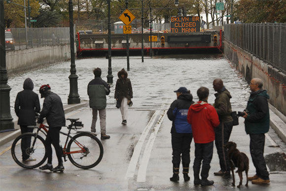 The Battery Park Underpass was completely flooded by super storm Sandy, which caused major damage to New York City and surrounding areas.