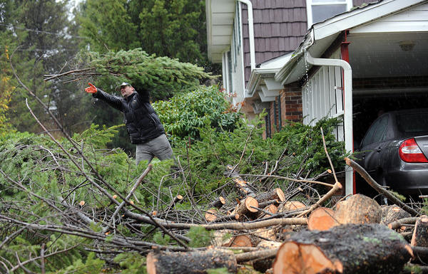 Harry Kolenovic of Long Island helps clean-up a 50 plus foot spruce tree that fell next to his father-in-law's house along Blue Ridge Road in Ross Township during Hurricane Sandy Tuesday morning.