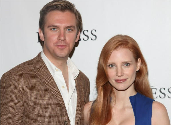 "Dan Stevens and Jessica Chastain at a press event for ""The Heiress,"" opening Thursday at the Walter Kerr Theatre in New York."