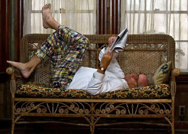 "Bill Murray, seen here catching up on the news in ""Moonrise Kingdom,"" will work again with filmmaker Wes Anderson on ""Grand Budapest Hotel."""