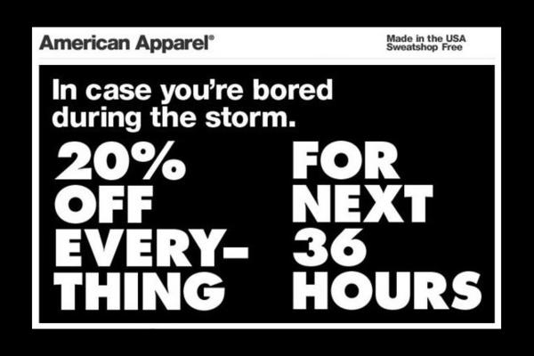 "American Apparel is catching flack for its ""Sandy Sale"" special."