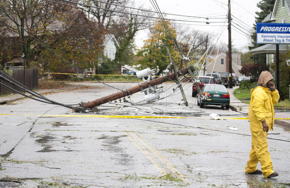 A utility pole snapped during the strong wind brought by Sandy on Old Edmondson Avenue and Ingleside Avenue.