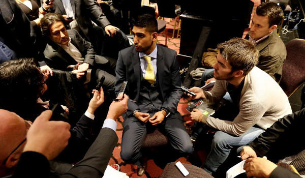 Amir Khan talks to the media during his news conference on Oct. 9 to announce his upcoming fight with Carlos Molina.