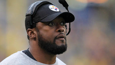 Pittsburgh Steelers head coach Mike Tomlin looks at the scoreboard during an NFL football game against the Washington Redskins on Sunday.