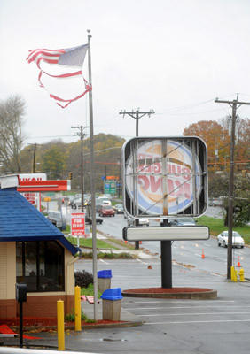 The Burger King in Phillipsburg, NJ, sustained damage from Hurricane Sandy.