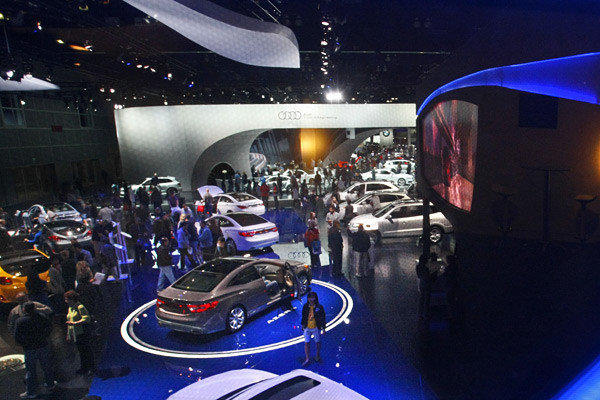 The 2012 L.A. Auto Show will feature a showcase of new technologies finding their way into vehicles in the near future. Here, vehicles are on display at the 2011 L.A. Auto Show.
