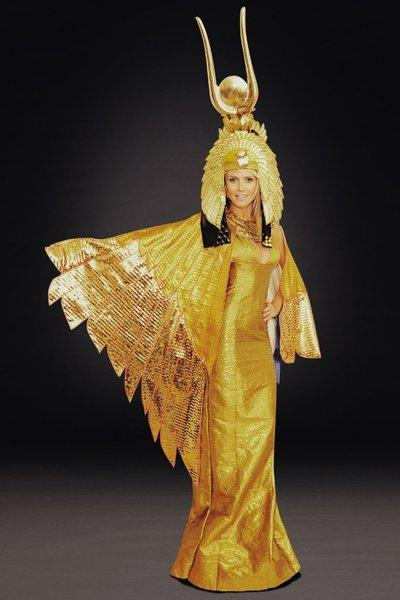 Heidi Klum models the elaborate Cleopatra costume she had planned to wear for Halloween before Hurricane Sandy forced a cancellation.