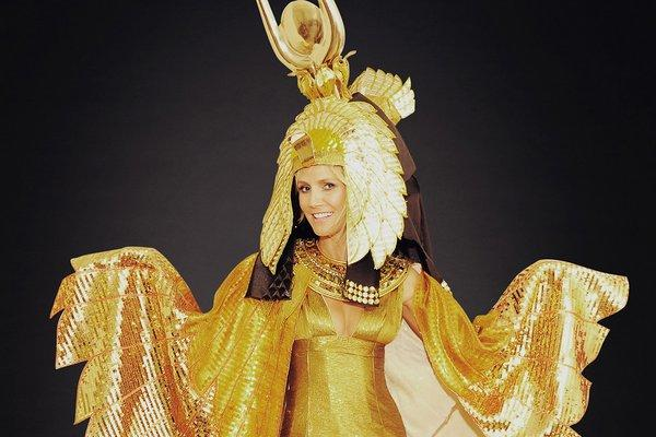 Heidi Klum was going to show as Cleopatra to her 13th annual Halloween party, but she's postponed the shindig because of super storm Sandy.