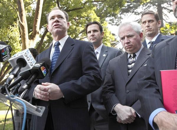 Jon Coupal, president of the Howard Jarvis Taxpayers Assn., is shown at left at a news conference in 2009.
