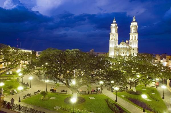 Mexico, Campeche State, Campeche City, historical center classified as World Heritage by UNESCO, the Zocalo and the cathedral