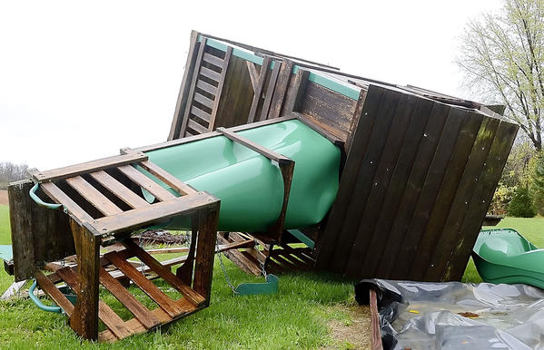 A childs playhouse was toppled on Spickler Road east of Clear Spring when Superstorm Sandy hit Washington County.