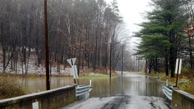 Flooding caused the closing of the Million Dollar Highway near where it meets Mountain Road close to Meyersdale.