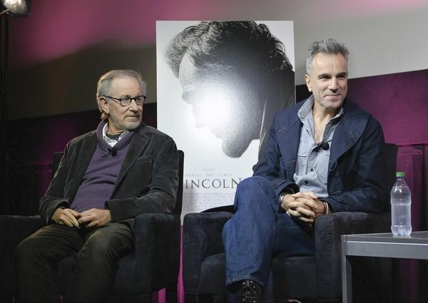 "Steven Spielberg, left, and Daniel Day-Lewis discuss ""Lincoln"" at a special screening."