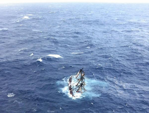 The HMS Bounty, a 180-foot sailboat, is shown submerged in the Atlantic Ocean during Hurricane Sandy approximately 90 miles southeast of Hatteras, N.C. One of the crew members is the son of a suburban Chicago man. He has been rescured.