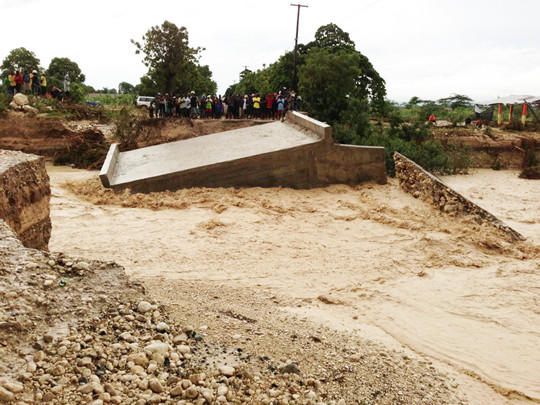 This bridge was destroyed Friday in Haiti by Hurricane Sandy, then a tropical storm, forcing Aberdeen nurses Suzanne Hofer and Jamie Kenny to stay in that nation longer than expected.