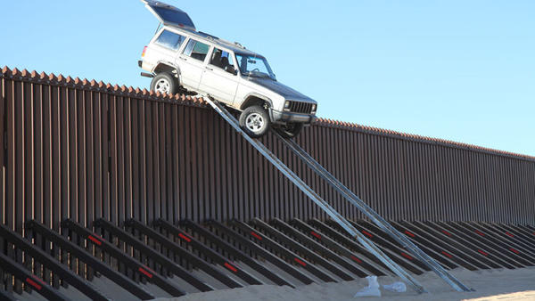 Yuma Sector U.S. Border Patrol agents found a Jeep Cherokee stuck on top of the border fence near Imperial Sand Dunes just after midnight Tuesday.