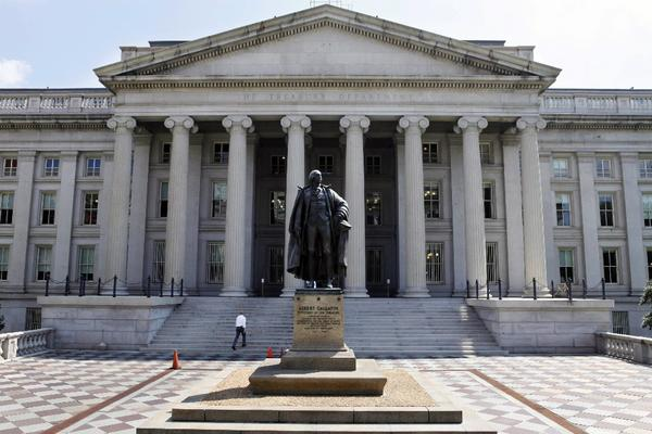 The statue of former Treasury Secretary Albert Gallatin outside the Treasury Building in Washington. The department said Wednesday it expected the U.S. to hit its debt limit again by the end of the year.
