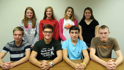 The North Star High School faculty has selected the following pupils as Student of the Month for October. From left, seated: Riley Hemminger, Paul Tretter, Devin Miller and Isaiah Thompson. Back row: Olivia Zuchelli, Cassy West, Gina Hanik and Katie Manges.