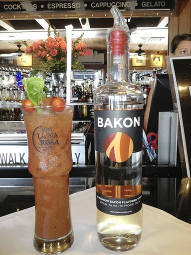 Bacon and tomato Bloody Mary made with Bakon vodka at Caff Luna Rosa in Delray Beach.