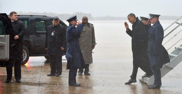 President Obama returned from the campaign trail to Washington on Monday to monitor response to Hurricane Sandy.