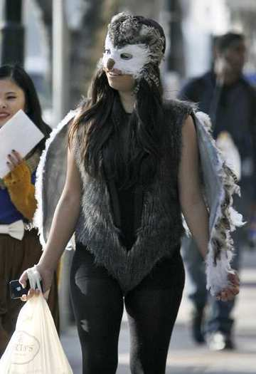 Janae Avila, 25 of L.A., dressed up as an owl for Halloween, Wednesday, Oct. 31, 2012.