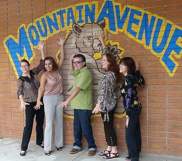Authors and illustrators visiting Mountain Avenue Elementary School are, from left, Amy Koss, Principal Rebeca Witt, Joe Cepeda, Mary Ann Fraser and Michelle Markel.