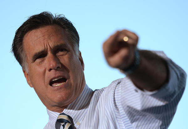 Mitt Romney speaks at a rally in Tampa, Fla.