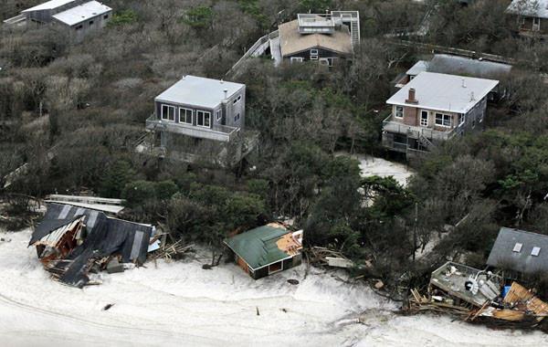 Badly damaged seaside homes along Long Island's south shore following super storm Sandy.
