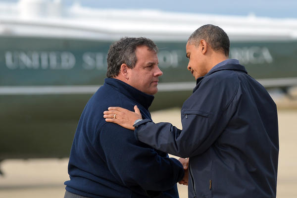 President Obama is greeted by New Jersey Gov. Chris Christie upon arriving in Atlantic City, N.J.
