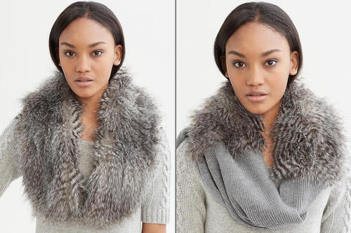 Banana Republic's Anna Karenina line offers the faux-fur Sonia stole, left, and the Jules faux-fur scarf, right. Both are $79.50