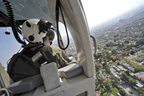 The view from a joint police helicopter above Glendale.