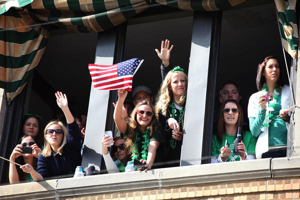 Spectators watch the 2012 South Side Irish parade.