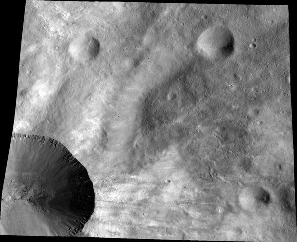 The surface of Vesta as imaged by the Dawn spacecraft.