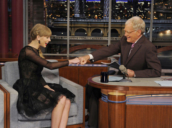 Taylor Swift, appearing with David Letterman, sold more than 1.2 million copies of her album 'Red' during its first week of release.