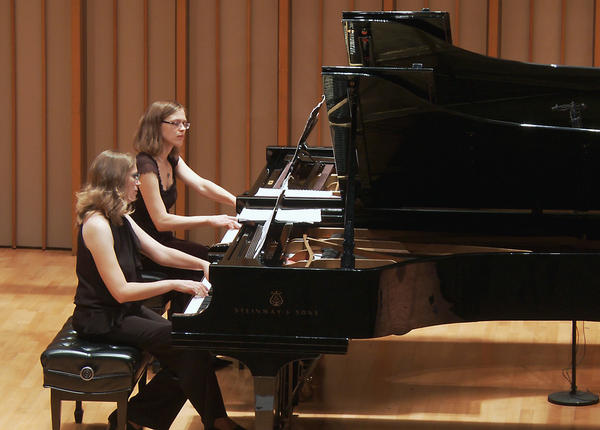 Amy Williams, left, and Helena Bugallo at Tuesday's Piano Spheres concert.