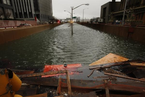 New York's Battery Park underpass, completely flooded by Hurricane Sandy.