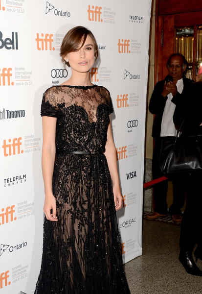 "Keira Knightley wore a black lace gown to the ""Anna Karenina"" premiere at the Toronto International Film Festival."