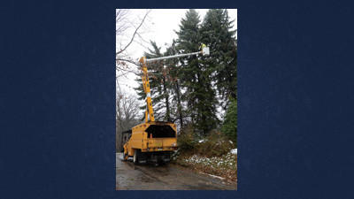Crews from Somerset Rural Electric Cooperative and Townsend, a contracted tree service from Indiana, Pa., cut fallen trees off of lines along Boy Scout Road in Jenner Township on Wednesday.